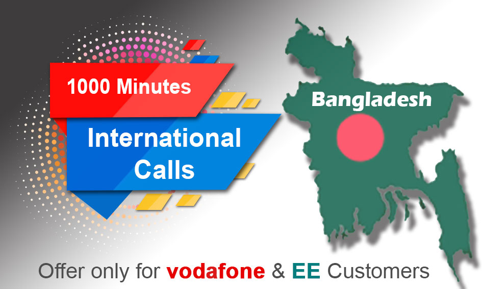 1000 International Minutes from Vodafone and EE